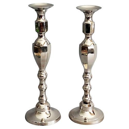 Tall Silver Plate Candlesticks, Pair