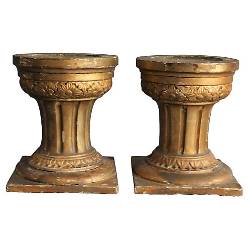 19th-C. French Altar Candle Stands, Pair