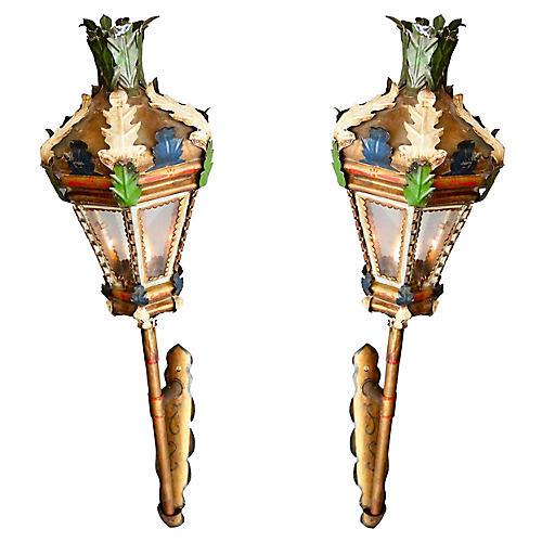 Venetian Processional Lanterns, Pair