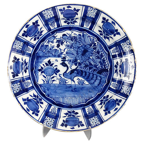 18th-C. Delft Charger with Bird