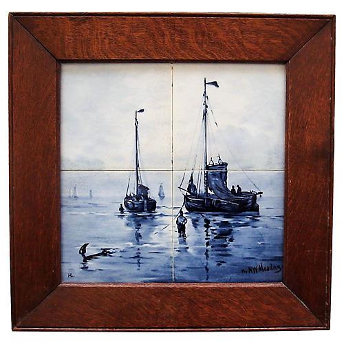 Antique Nautical Delft Tile Plaque