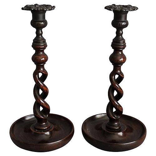19th-C English Twist Candlesticks, Pair