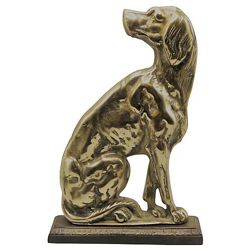 English Brass Dog Sculpture