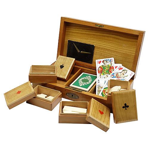 Antique English Games Box & Contents