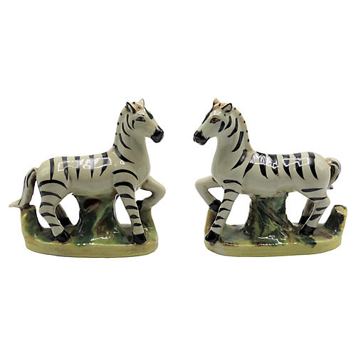 Antique Staffordshire Zebras, Pair