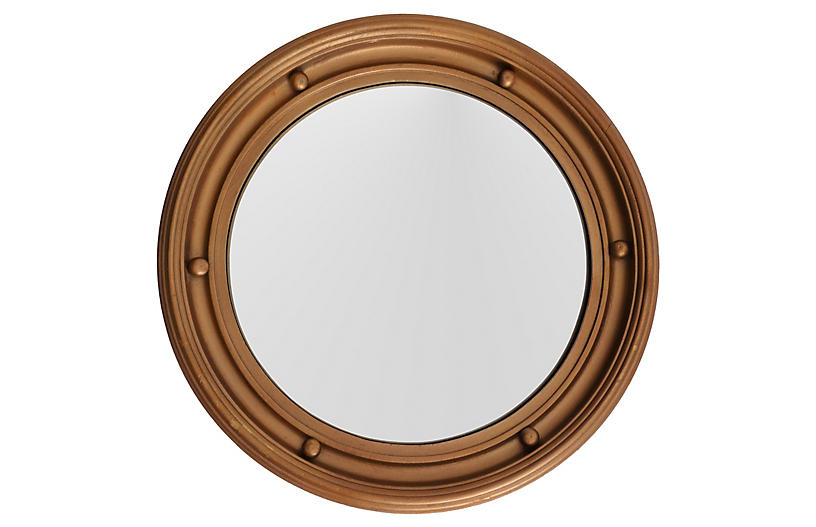 English Convex Bullseye Round Mirror