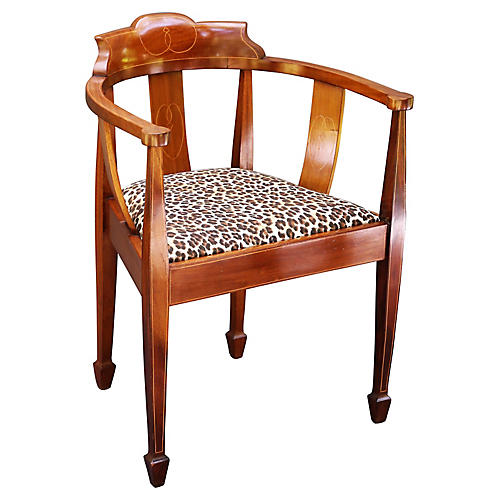 Antique Barrel-Back Chair, C. 1910