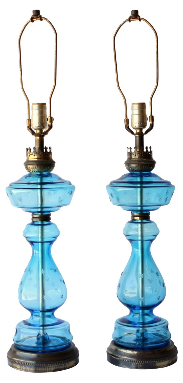Blue Glass Lamps w/ Etched Stars, Pair