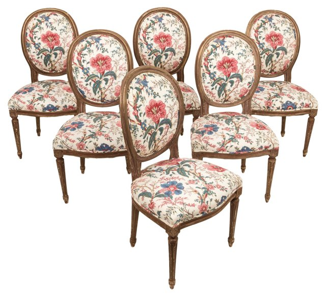 French Dining Chairs, C. 1940, S/6