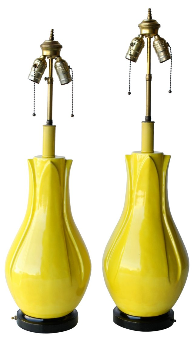 Canary Yellow Pottery Lamps, Pair