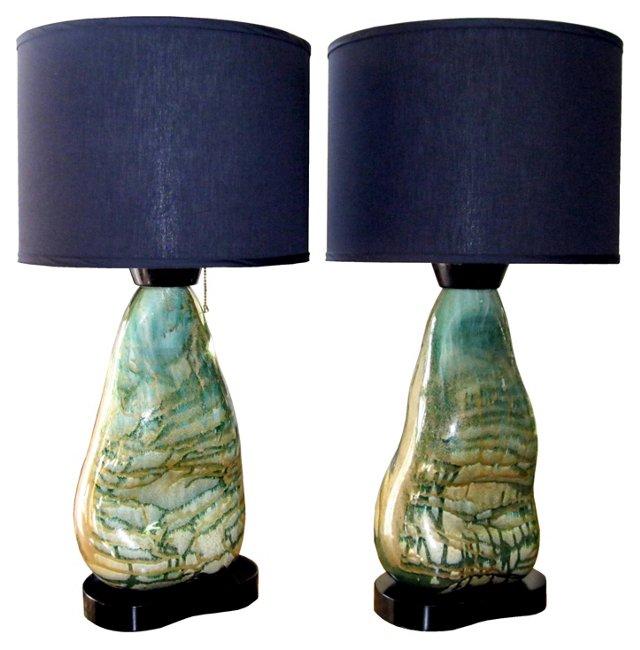Sculptural Glass Lamps, Pair