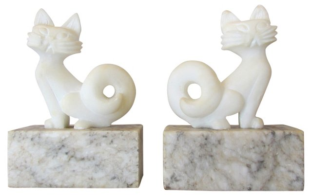 Alabaster & Marble Cat Bookends