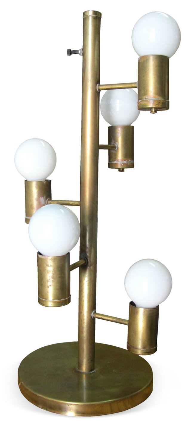 Five-Light Industrial Brass Lamp
