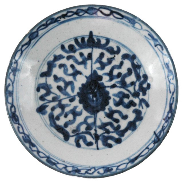 Asian Blue & White Floral Plate