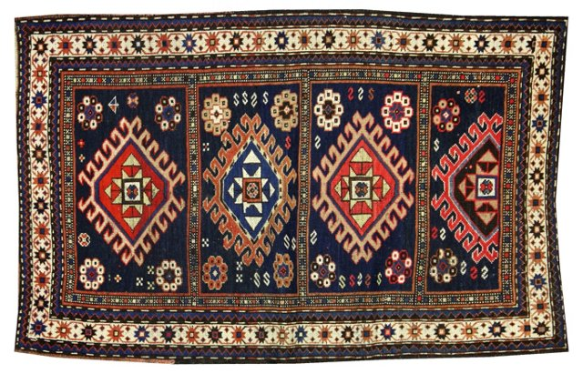 "Antique Russian Kazak Rug, 5'6"" x 3'5"""