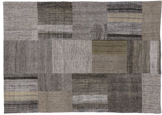 "Patchwork Shades of Gray, 6'7"" x 7'10"""