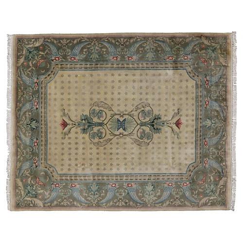 "Decorative Floral Indian Rug, 8'2"" x 10'"