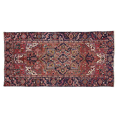 """Antique Persian Heriz Rug, 5'1"""" x 10'2"""""""
