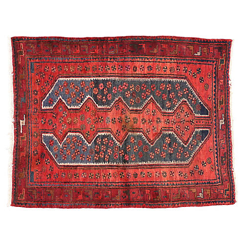 "Persian Hamadan Rug, 5' x 6'7"""