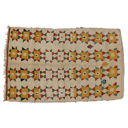 "Vintage Berber Moroccan Rug,4'7"" x 7'"