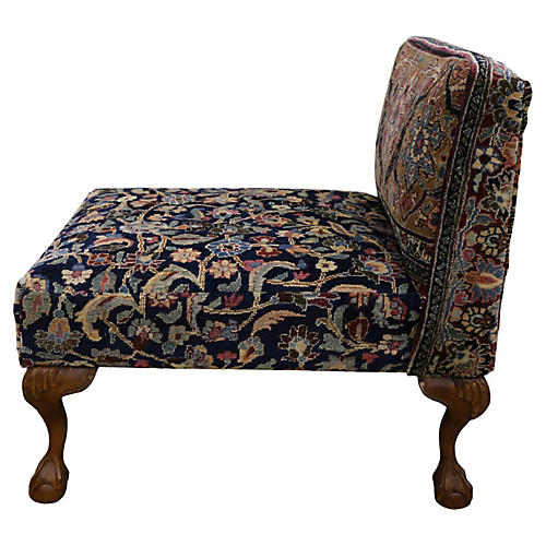Antique Slipper Chair with Claw Feet