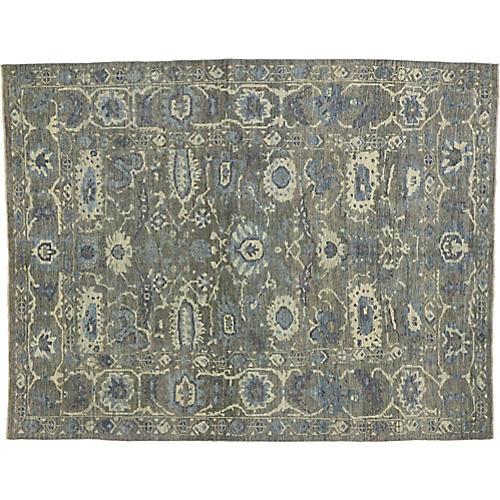 Gray Turkish Oushak Area Rug, 6'10 x 8'7