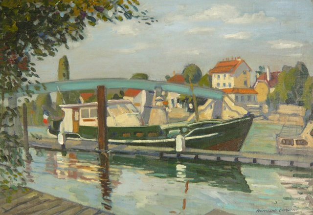 Boat on the River Marne by H. Curcuru