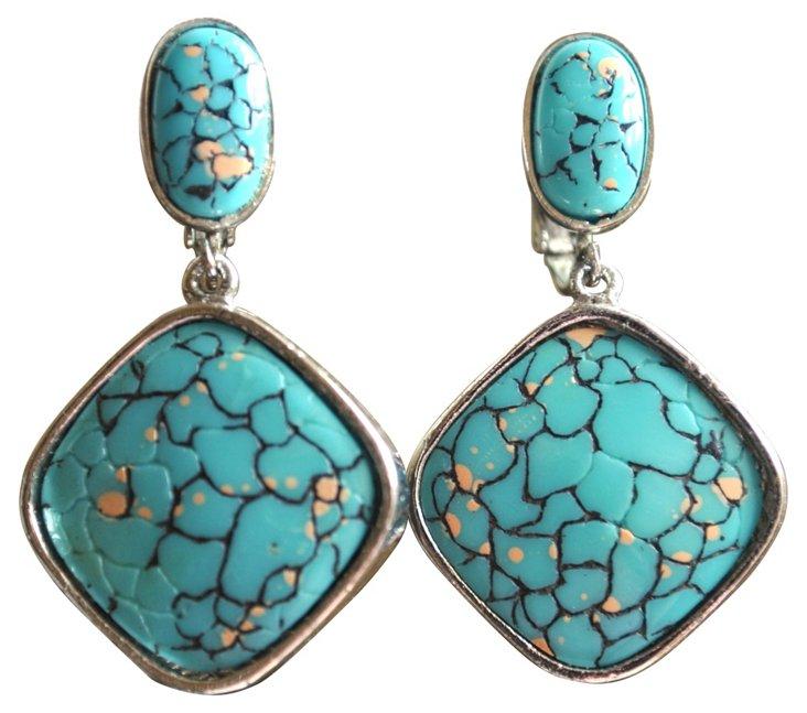 Hobe Lucite & Silvertone Earrings