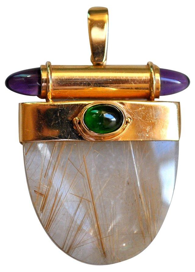 Gold, Quartz & Cabochon Pendant