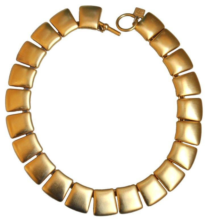 Anne Klein Gold Tile Modernist Necklace