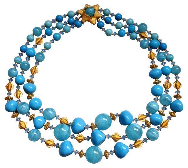 Triple-Strand Glass Bead Necklace