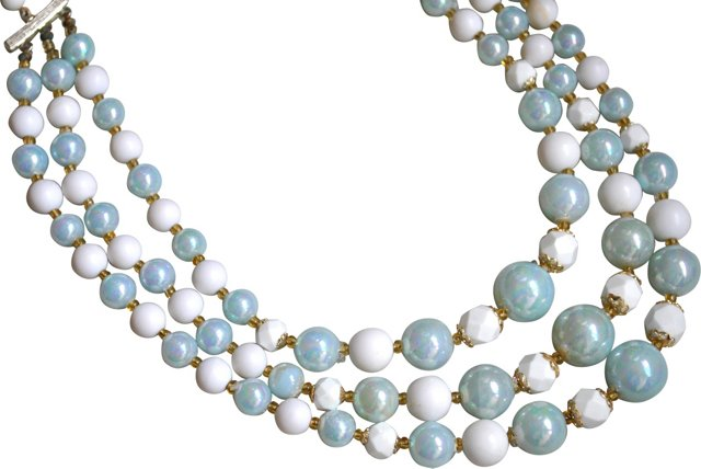 Blue Glass & Pearlized Bead Necklace
