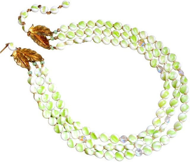 Lisner Glass Bead & Crystal Necklace