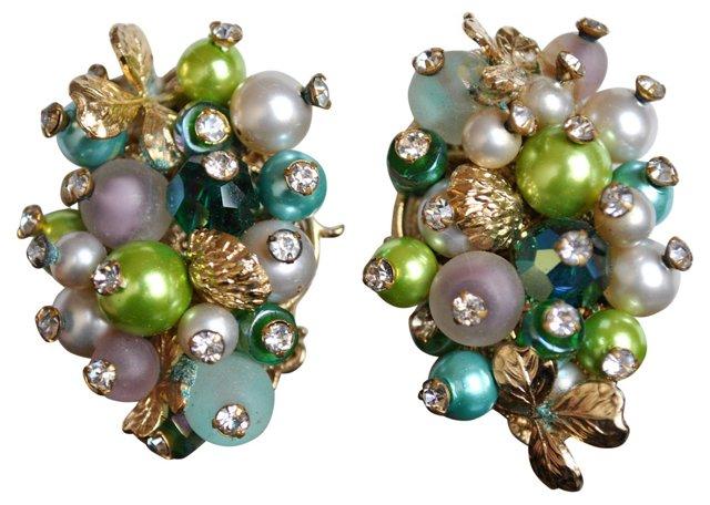 Vendome Glass Bead & Rhinestone Earrings