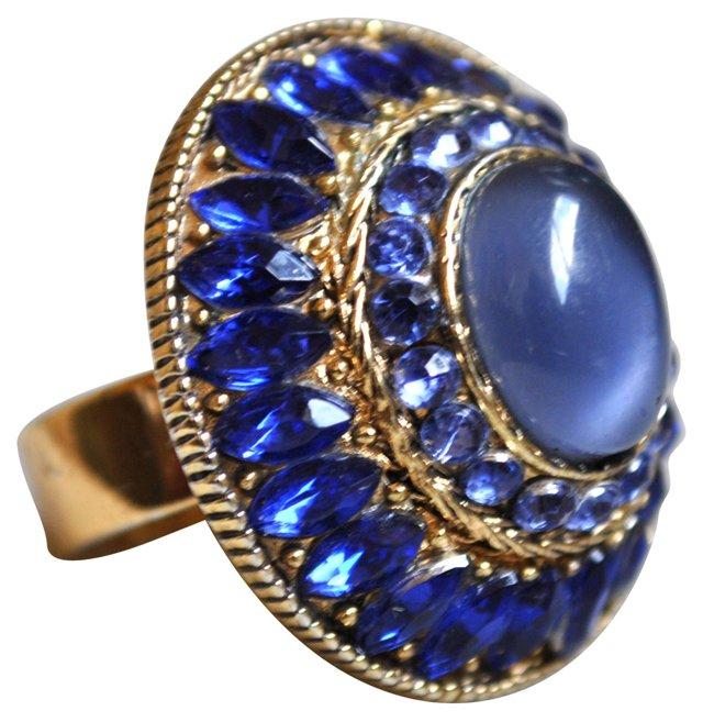 Domed Blue Rhinestone & Cabochon Ring