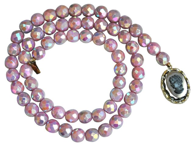 Iridescent Pink Glass Bead Necklace