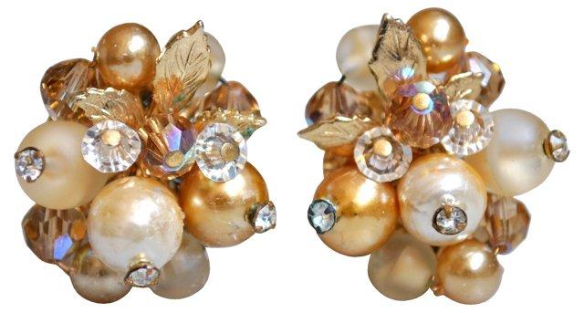 Vendome Gold, Crystal & Pearl Earrings