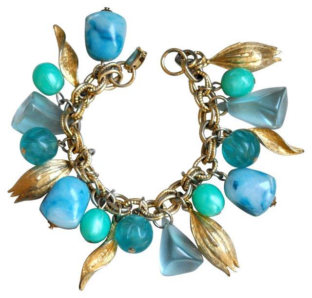 Aqua Lucite & Goldtone Charm Bracelet