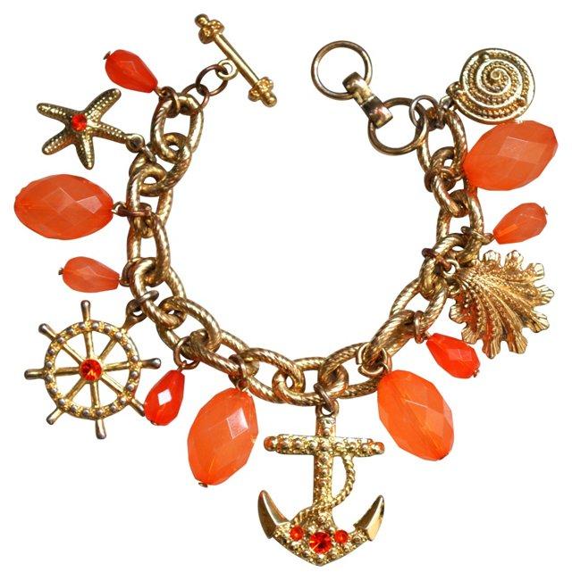 Orange Glass & Goldtone Charm Bracelet