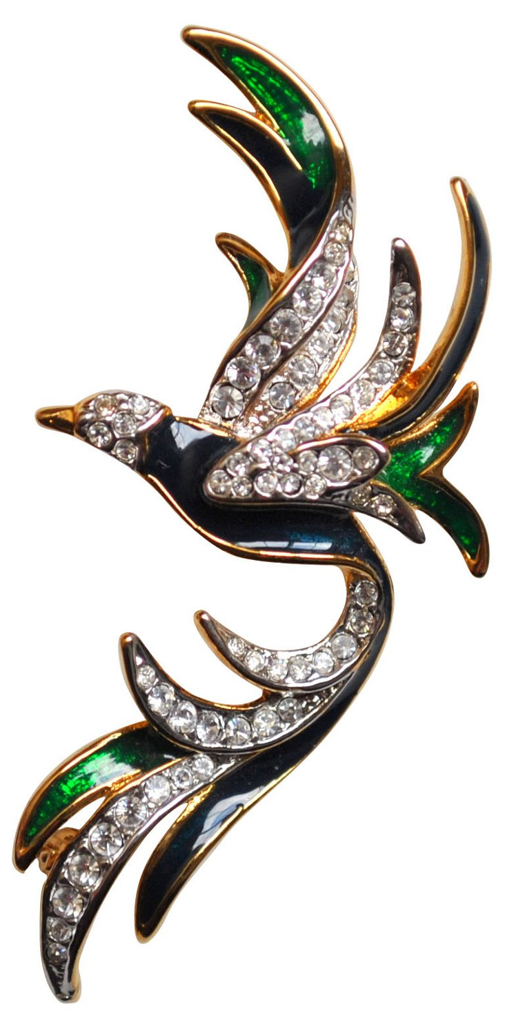Enamel & Rhinestone Winged Bird Brooch