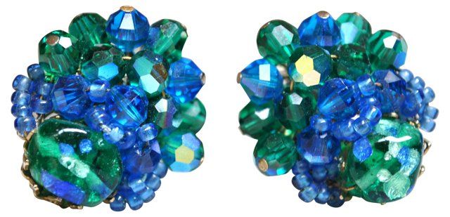 Vendome Art Glass & Crystal Earrings