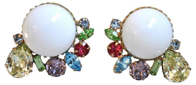 Glass Cabochon & Rhinestone Earrings