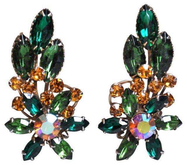 Rhinestone Floral Spray Earrings