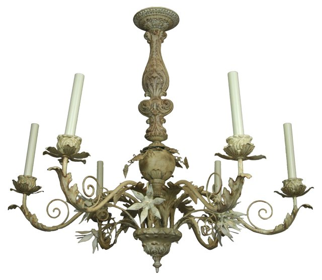 Hand-Painted Foliate Chandelier