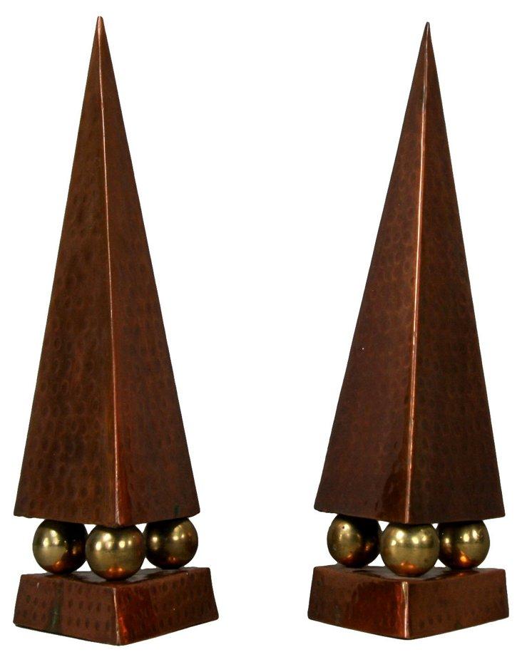 Copper Obelisks, Pair