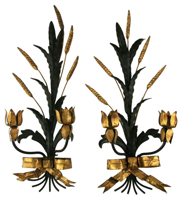 Italian Tole Candle Sconces,   Pair