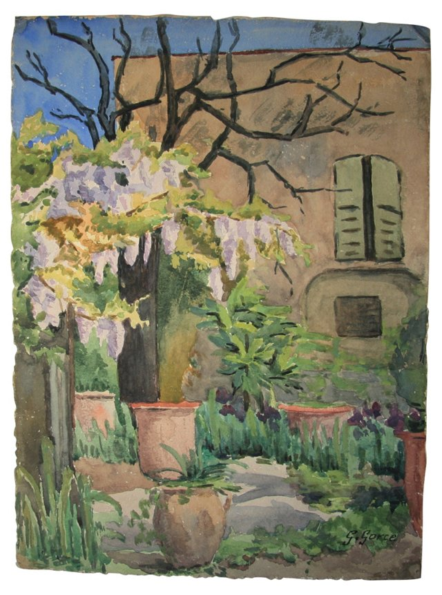 French Garden Watercolor