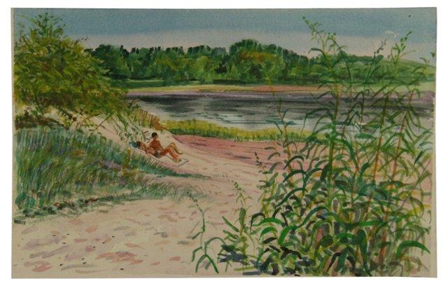 Hamptons Sun Bathers  Watercolor