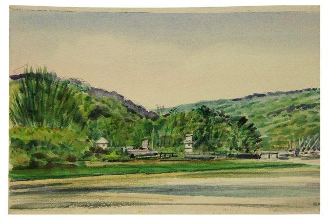East Hampton Shoreline Watercolor