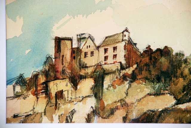 Clifftop Chateau Watercolor